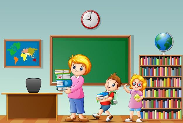 Karikaturfrau mit schule scherzt in einem klassenzimmer