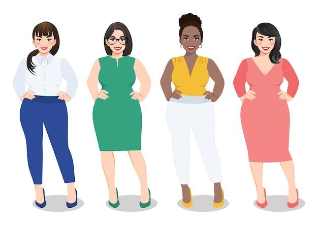 Karikaturfrauen in der vielfältigen modebürokleidung