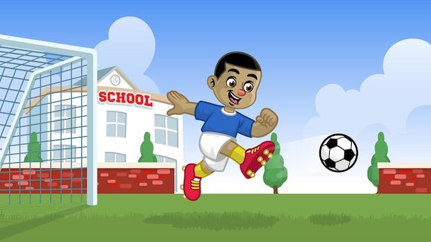 Karikaturfußballspieler, der auf dem schulfeld spielt
