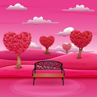 Karikaturgarten mit schatten des rosas am valentinsgrußtag