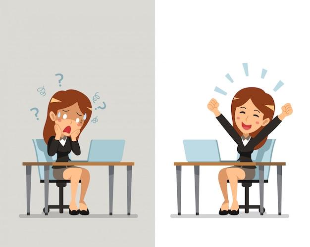 Karikaturgeschäftsfrau, die verschiedene gefühle ausdrückt