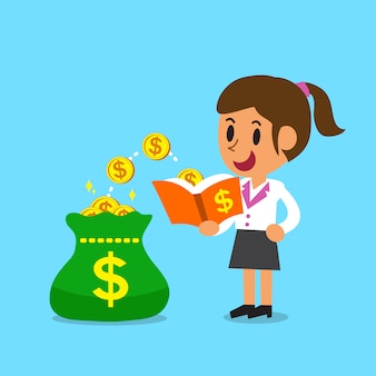 Karikaturgeschäftsfrau öffnen ein buch, das geldmünzen hat
