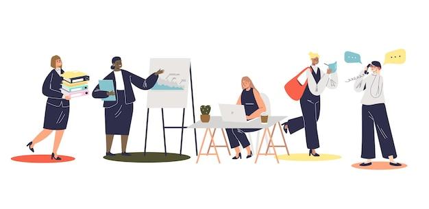 Karikaturgeschäftsfrauen, die bei der arbeit beschäftigt sind: mit papierkram, laptop oder bei der präsentation. satz junger weiblicher geschäftsdamen, erfolgreiche unternehmer oder arbeiter. flache vektorillustration