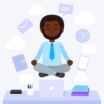 Karikaturgeschäftsleute, die illustration meditieren