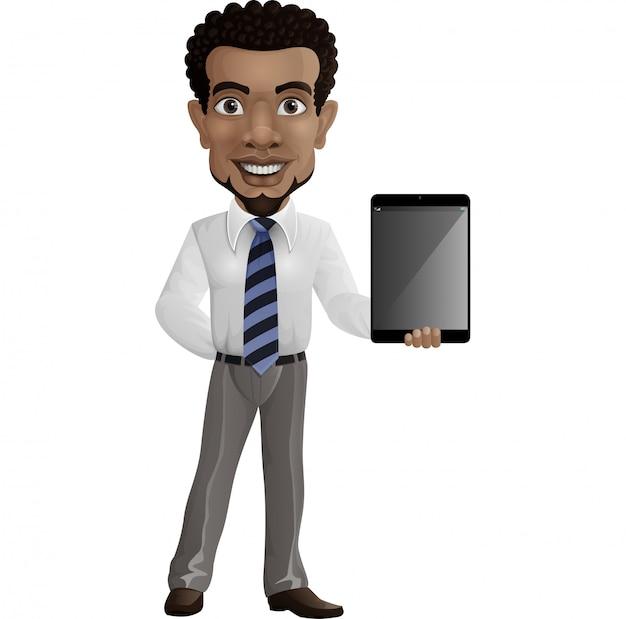 Karikaturgeschäftsmann, der eine tablette hält
