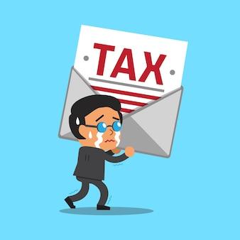 Karikaturgeschäftsmann, der großen steuerbrief trägt