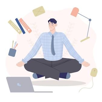 Karikaturgeschäftsmann, der meditiert