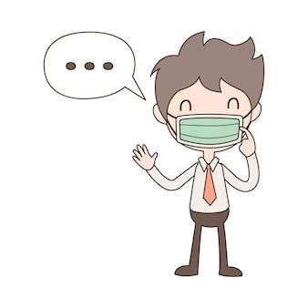 Karikaturgeschäftsmann, der medizinische maske, schutzvirus oder coronavirus trägt.
