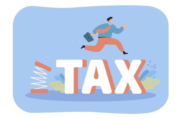 Karikaturgeschäftsmann, der sich abstößt und über steuern springt