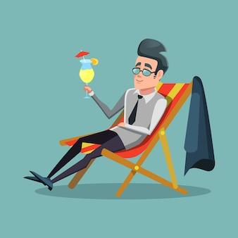 Karikaturgeschäftsmann, der sich auf urlaub mit tropischem cocktail entspannt. sommerferien.