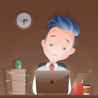 Karikaturgeschäftsmann, der spät über nacht im büro arbeitet