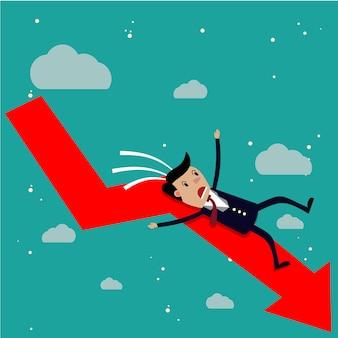 Karikaturgeschäftsmann, der vom roten diagrammpfeil fällt.
