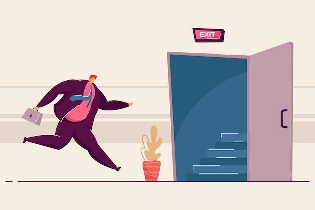 Karikaturgeschäftsmann, der zur geöffneten ausgangstür läuft