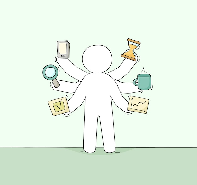 Karikaturgeschäftsmann mit vielen händen. doodle süße szene über multitasking und workload. handgemalt