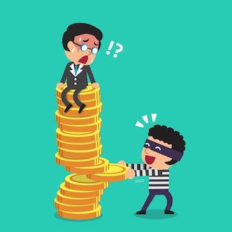 Karikaturgeschäftsmann und dieb mit geldmünzenstapel.