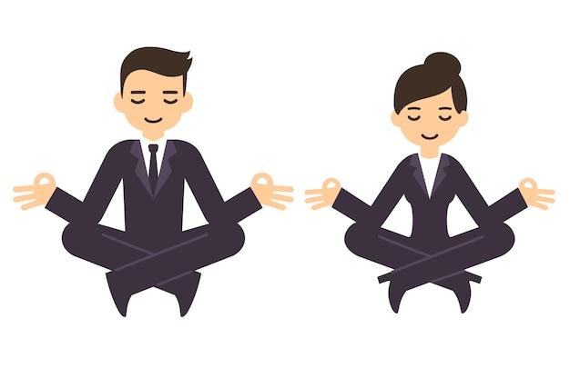 Karikaturgeschäftsmann und -frau in den formellen anzügen, die in der lotushaltung meditieren. auf weißem hintergrund isoliert.