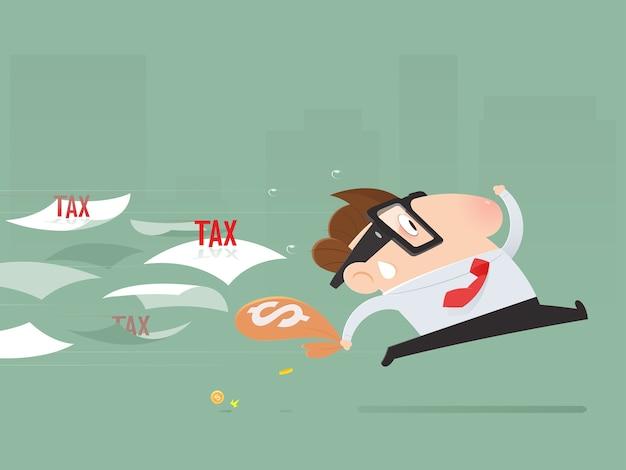 Karikaturgeschäftsmann vermeiden, steuern zu zahlen.