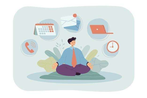 Karikaturgeschäftsmanncharakter, der yoga oder meditation praktiziert. flache illustration.