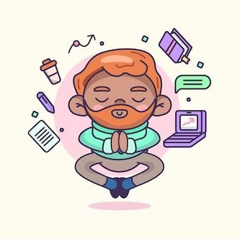 Karikaturgeschäftsperson, die friedlich meditiert