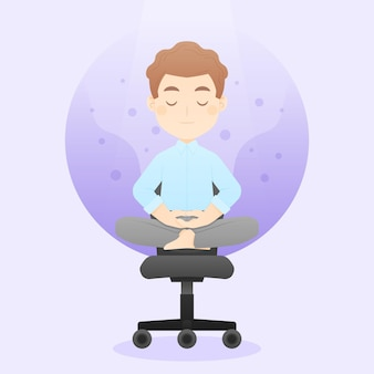 Karikaturgeschäftsperson, die meditiert