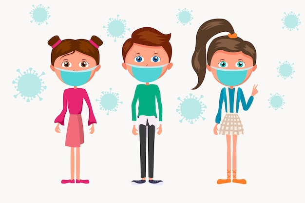 Karikaturgruppe von kindern in der blauen medizinischen maske. kinder und die epidemie der coronavirus-bakterien.