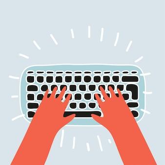 Karikaturhände auf weißer tastatur und maus des computers. schreibtisch büroangestellter konzept. computer, internet, tippen. illustration im flachen design auf braunem hintergrund