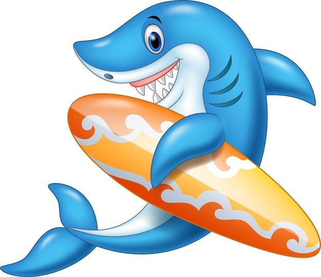 Karikaturhai, der surfbrett hält