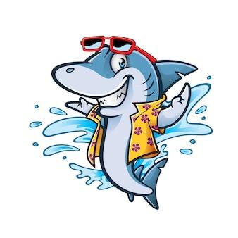 Karikaturhai mit dem lächelnden willkommen der strandkleidung und der sonnenbrille