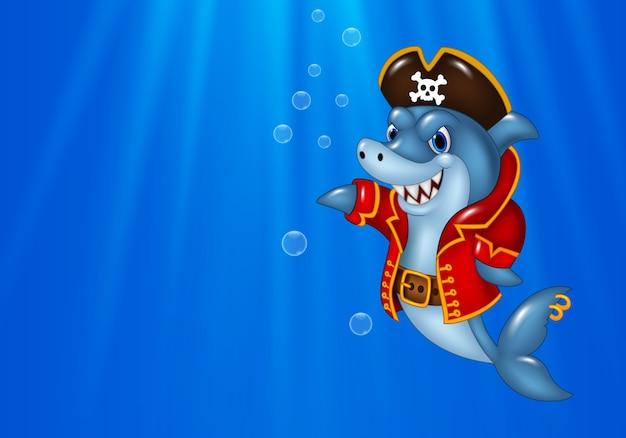 Karikaturhai-piratenschwimmen im ozean