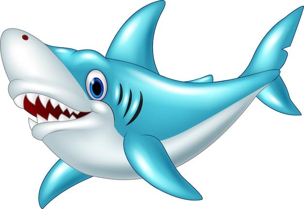 Karikaturhaifisch lokalisiert auf weißem hintergrund