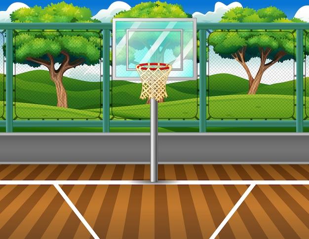 Karikaturhintergrund des basketballplatzes für spiel