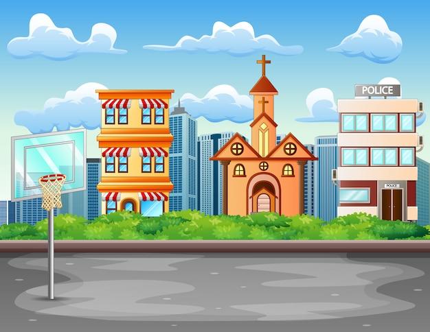 Karikaturhintergrund mit basketballplatz in der stadtlandschaft