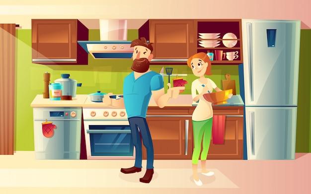 Karikaturhintergrund mit jungem glücklichem verheiratetem paar
