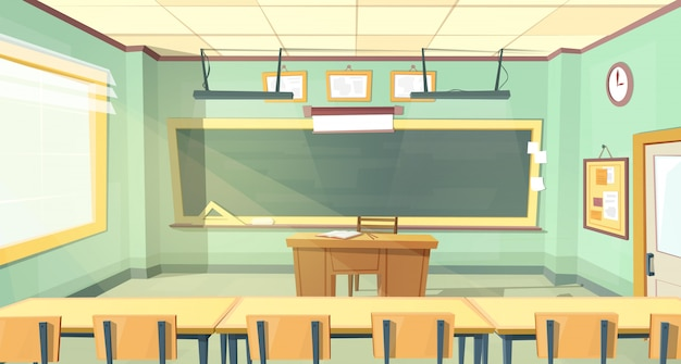 Karikaturhintergrund mit leerem klassenzimmer, innenraum nach innen