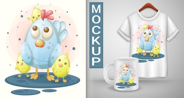 Karikaturhuhn mit hühnern. t-shirt-vorlage.