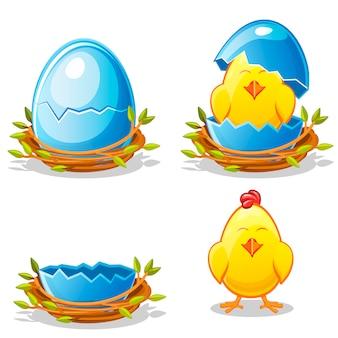 Karikaturhuhn und blaues ei in einem nest