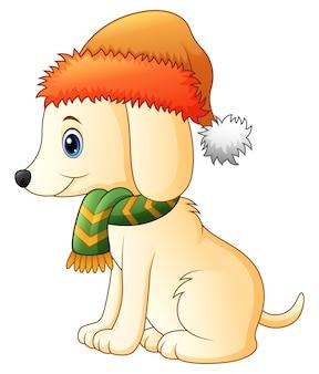 Karikaturhund, der einen schal und einen sankt-hut trägt
