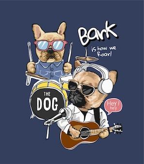 Karikaturhund mit musikinstrumentenillustration