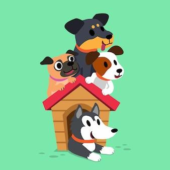 Karikaturhunde mit einem hundehaus