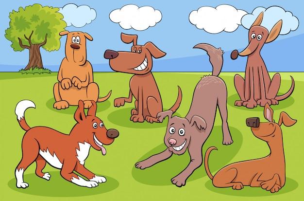 Karikaturhunde und welpenfigurengruppe im park