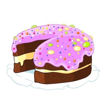 Karikaturikone eingeschnittener schokoladenkuchen mit dem bereifenden blaubeer und besprüht.