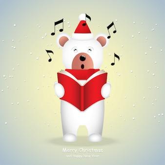 Karikaturikone, netter weißer bär, der frohe weihnachten singt.