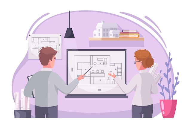 Karikaturillustration der architektenarbeit