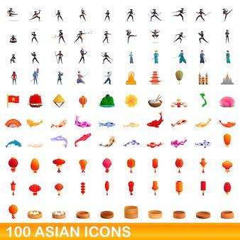 Karikaturillustration der asiatischen ikonen gesetzt lokalisiert auf weiß