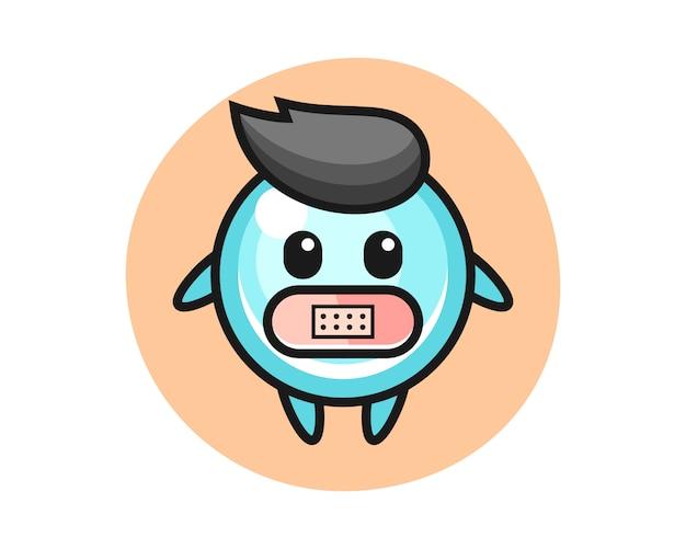 Karikaturillustration der blase mit klebeband auf mund, niedliche artentwurf