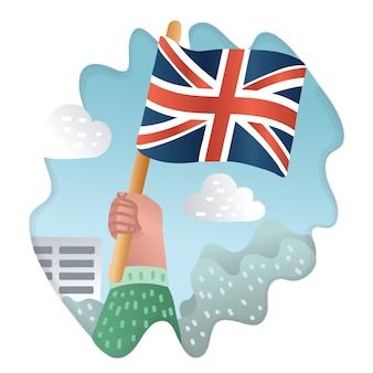 Karikaturillustration der englischen flagge halten in menschlicher hand