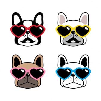 Karikaturillustration der französischen bulldoggenherz-sonnenbrille des hundecharakters