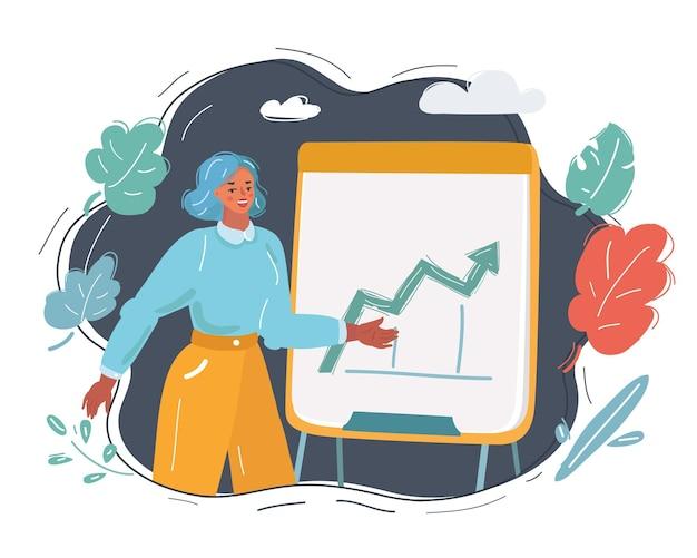 Karikaturillustration der frau zeigen ihre präsentation stehend und zeigt auf flipchart-tafel