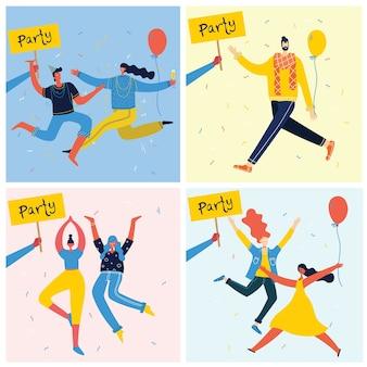 Karikaturillustration der glücklichen gruppe der leute, die feiern, auf die partei springen. das konzept von freundschaft, gesundem lebensstil, erfolg, feiern, party. weibliche flache charaktere