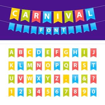 Karikaturillustration der großbuchstaben-abc-schriftart, die auf parteiflaggen gesetzt wird. einfach zu bearbeiten. dekorationsparty, festfeiertag, babyparty, geburtstag, namen, werbung.